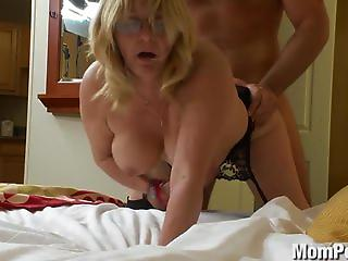 Check out this old lady's hairy muff as she gets fucked.