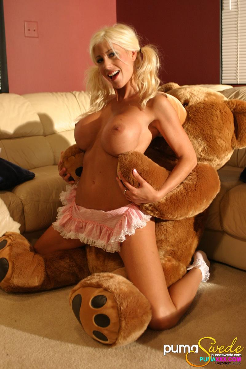 Blonde with big bear sexy teddy with