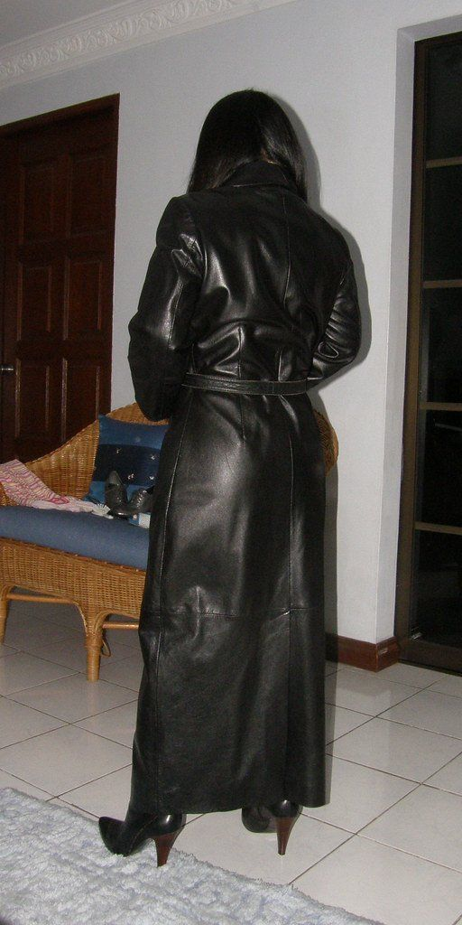 best of Slut in long Black leather coat