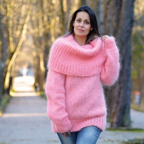 Angora fetish sweater woman