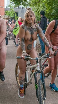 Nude girls riding bicles